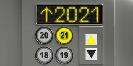 2021 new year eve. The elevator gold 2021 number and the button with the arrow up, leads us to the new year. Silver metallic background, 3d illustration
