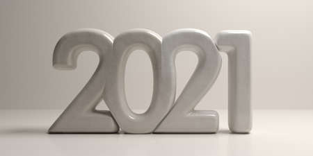 2021 new year. Gray stone numbers on beige  background. Close up view, continuous writing, 3d illustration