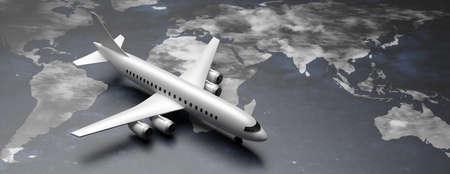 Flight international for business trip, immigration, tourism. Plane model on planet earth map background. Copy space, banner. 3d illustration Zdjęcie Seryjne