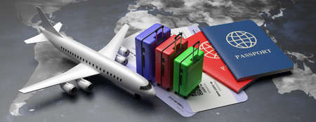 Air travel worlwide concept, suitcases and boarding pass. Two passports and plane tickets on earth globe map background, banner. 3d illustration Zdjęcie Seryjne