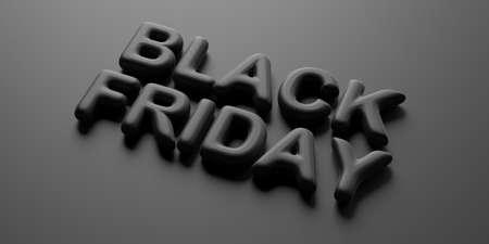 Black Friday sale concept. Black Friday text, black letters against black color background. 3d illustration