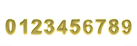 Numbers gold set from 0 to 9. Glossy, inflated and gold color balloon of numeral set 0 to 9 isolated on white background. Banner. 3d illustration