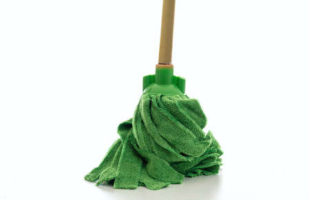 Cleaning mop isolated against white background. Floor moist mop green color, household sanitary cleaning supplies