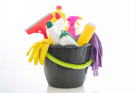 Cleaning products isolated against white background. Plastic chemical detergent bottles and equipment, Domestic household or business sanitary cleaning