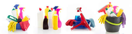 Cleaning products isolated against white background. Plastic chemical detergent bottles and equipment, Domestic household or business sanitary cleaning, collage Zdjęcie Seryjne
