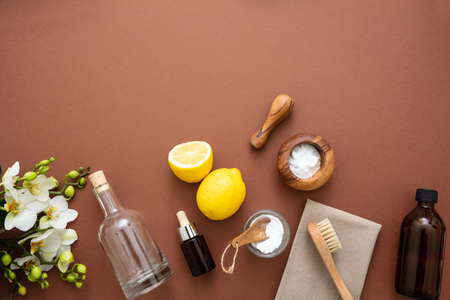Eco cleaning household background. Cleaning products homemade safe non toxic flat lay, baking soda, lemon vinegar and fresh blossoms on brown color background,