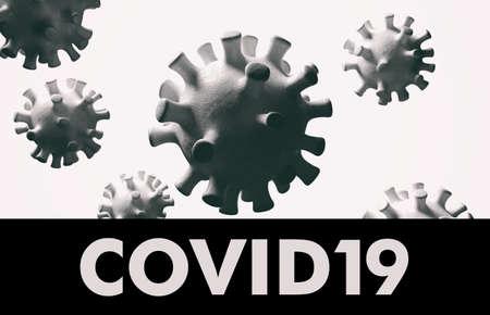 Covid 19 text. Flu China coronavirus floating, micro view, pandemic virus infection, asian flu concept. 3d illustration Zdjęcie Seryjne