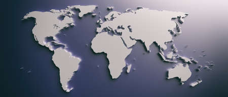 World map. Planet earth globe map flat, blank continents and countries against blue color background, smooth shadows, banner. 3d illustration Zdjęcie Seryjne
