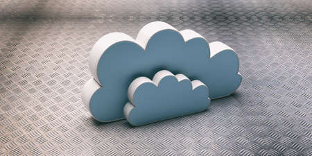 Cloud computing. Blue computer cloud against industrial metal background. Cloud data storage concept. 3d illustration