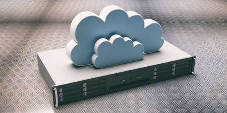 Computer server unit and storage cloud against metal checkerplate industrial background. Cloud computing storage, data center concept. 3d illustration