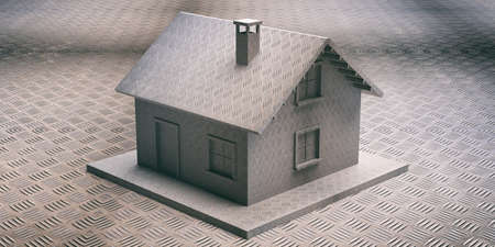 Security safety house concept. Armored guard shield home, safeguard. Metal checkerplate industrial house model coating and background. 3d illustration