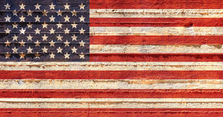 USA flag on wall. US of America flag painted on a grunge concrete wall. United States, american language and culture concept