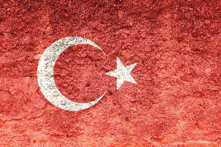 Turkey flag on wall. Turkish flag painted on a grunge dirty wall. Turkey, turkish language and culture concept