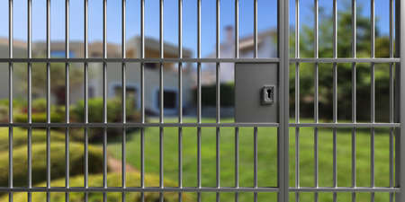 House safety, anti theft protection concept. Metal fence with steel bars and lock, blur residential building and garden background. 3d illustration