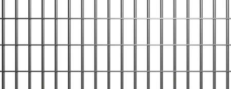 Jail bars on white background. Prison, cage, conviction concept, 3d illustration