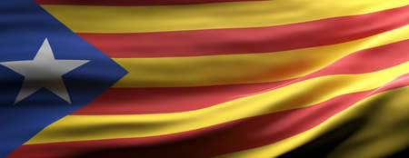 Catalonia sign symbol. Catalan national flag waving texture background, banner. 3d illustration 版權商用圖片