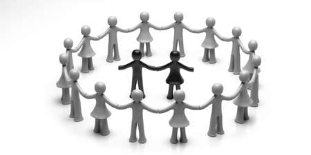 Stop racism, inclusion. White human figures holding hands in circle, black human figures in the center isolated on white background. 3d illustration 版權商用圖片