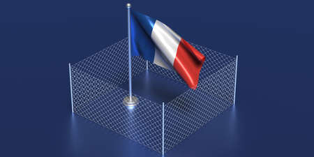 France closed borders concept. French flag on pole fenced with wire mesh, blue background. COVID 19 pandemic quarantine, 3d illustration
