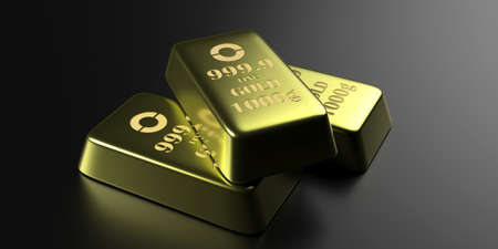 Gold bars on black background. Gold ingots 1000g weight closeup view. Wealth, reserve, business success and finance concept. 3d illustrartion