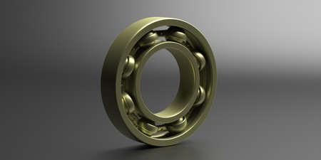 Ball bearing. Gold metal industrial spare part on black background. Machinery, engineering concept. 3d illustration Standard-Bild