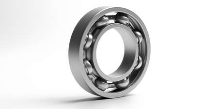 Ball bearing. Steel metal industrial spare part isolated on white background. Machinery, engine mechanism, engineering concept. 3d illustration