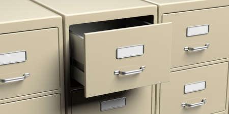 Classeurs de bureau avec vue rapprochée du tiroir ouvert. Concept de stockage d'archives de données de document et d'administration d'entreprise. illustration 3D