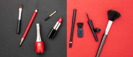 Make up cosmetics accessories in red and black. Lipstick, nail polish, eye pencil and brushes against red and black color background