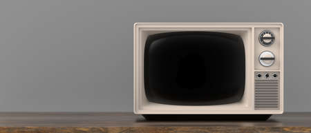 TV old fashioned. Retro vintage television, blank black screen template, wooden table, gray color background, banner, copy space. 3d illustration 免版税图像