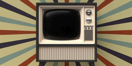 TV old fashioned. Retro old television, blank black screen template, circus vintage wallpaper wall background. 3d illustration 免版税图像