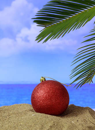 Xmas summer holidays concept. Christmas bauble on a sandy beach with palm tree, blue sky and sea background. Vertical photo 免版税图像