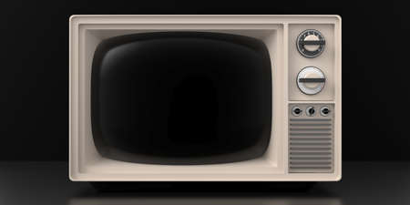 TV old fashioned. Retro vintage television, blank black screen template, black color background. 3d illustration