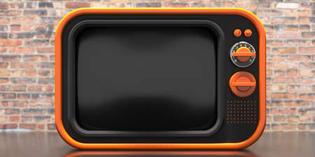 TV old fashioned. Retro old television, blank black screen template, vintage brick wall background. 3d illustration