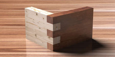 Wooden box joint jig, dovetail connection concept. Woodworking of corner assembling with finger joints isolated on wooden background. Closeup. 3d illustration