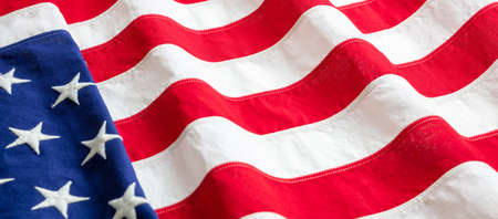 USA flag detail, closeup view. American flag background texture. Memorial day and 4th of July, Independence day concept