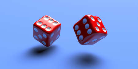 Dice red color, two flying over blue color background, Rolling dice, gambling, luck concept. 3d illustration