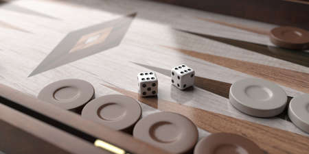Backgammon, playing an ancient table game. Dice and chips on the backgammon board. Strategy and luck, leisure, entertainment concept Foto de archivo