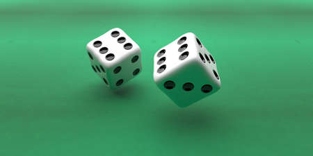 Dice two flying over green color background, Rolling dice, gambling, luck concept. 3d illustration