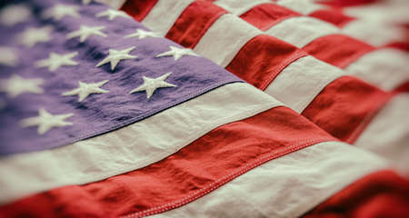 USA flag detail, closeup view. American flag background texture. Memorial day and 4th of July, Independence day concept 免版税图像 - 150499597