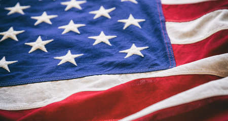 USA flag detail, closeup view. American flag background texture. Memorial day and 4th of July, Independence day concept 免版税图像 - 150499602