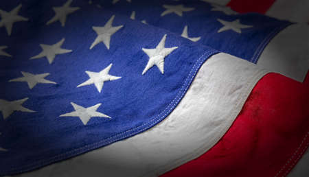 USA flag detail, closeup view. American flag background texture. Memorial day and 4th of July, Independence day concept 免版税图像 - 150498836