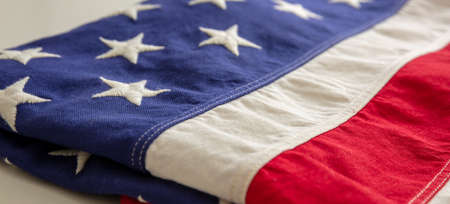 USA flag folded background. American flag closeup view. Memorial day and 4th of July, Independence day concept 免版税图像 - 150498404