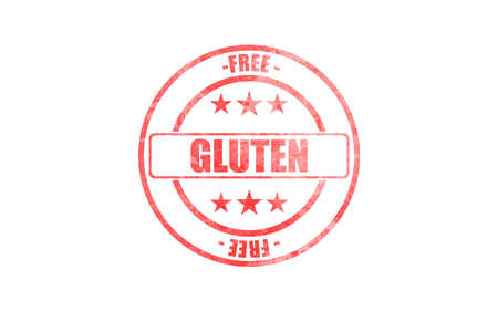 Gluten free stamp red color isolated against white background. Gluten free certified food, healthy eating concept.