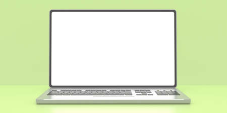 Laptop blank sreen template. Computer open front view, empty white screen on pastel green color background, banner, copy space. 3d illustration.