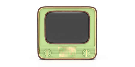TV vintage. Retro old television receiver pastel green color with blank empty screen isolated against white background, 50s nostalgia, template. 3d illustration 版權商用圖片