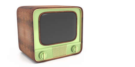 TV retro, old vintage television pastel green color with blank empty screen isolated against white background, 50s nostalgia, template. 3d illustration