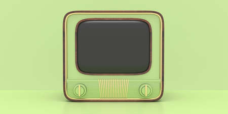 TV vintage. Retro old television receiver with blank empty screen against pastel green color background, 50s nostalgia, template. 3d illustration 版權商用圖片