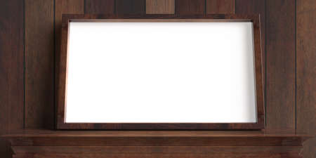 Photo frame on a shelf, wooden wall background. Picture frame blank empty white, template for painting, poster, art gallery, front view, copy space. 3d illustration 免版税图像