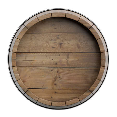 Whiskey, bourbon cellar concept.. Wooden barrel top isolated on white background. Wine, beer alcohol distilery template, copy space. 3d illustration Reklamní fotografie