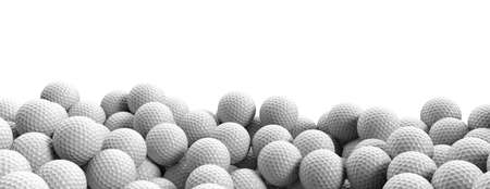 Golf balls pile on white background, banner, close up view, copy space. Golfing training, sport game concept. 3d illustration