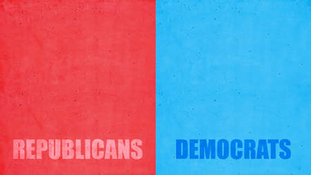 USA elections choice. Republicans, Democrats text on red and blue color background. Decision alternative for US of America election concept.